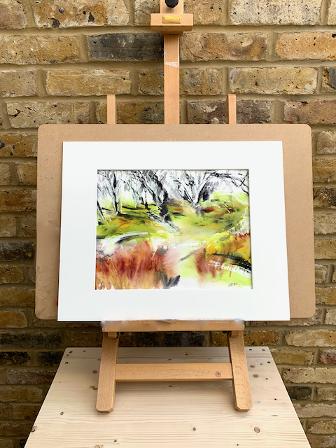 Australian bush in abstract watercolour painting 16 x 12 inch (41.5 x 31 cm).