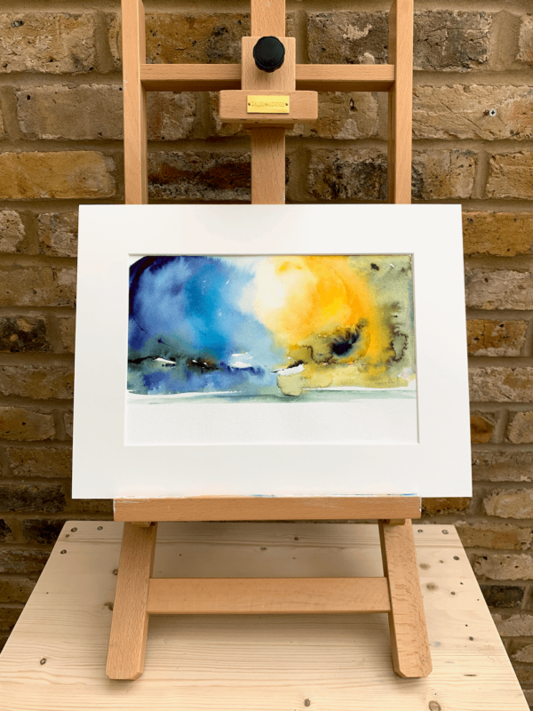 Blue and Yellow by Zuzana Edwards, Landscape Abstract painting 9 x 12 inch (23 x 30 cm).