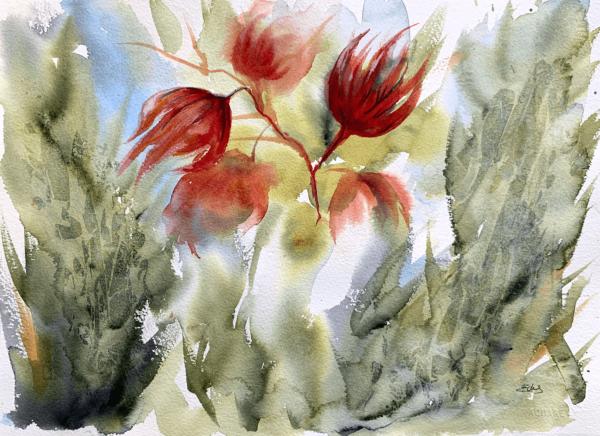 Dancing Flowers, original painting 16 x 12 inch (41.5 x 31 cm)