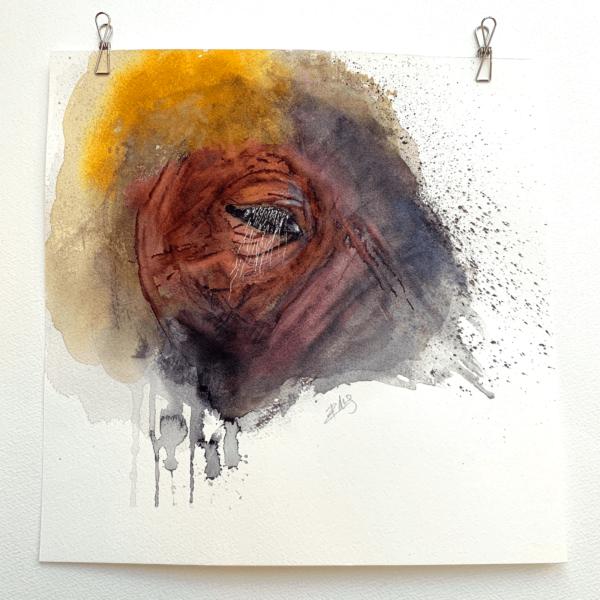 Elephant's head. Fine art painting - 10.5 x 10.5 (26.5 x 26.5 cm)