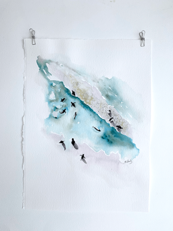Penguins from birds eye perspective. Playful, minimalist fine art painting - 11.5 x 15 inch (28 x 38 cm)