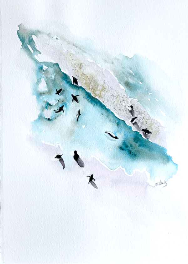 Masters of frolic by Zuzana Edwards. Penguins from birds eye perspective. Minimalist fine art painting - 11.5 x 15 inch (28 x 38 cm).