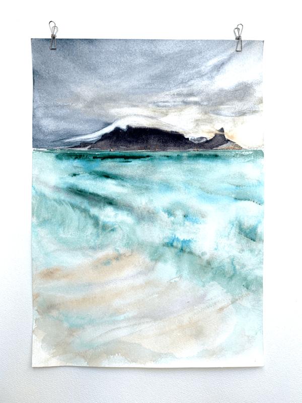 Table Mountain and Sea watercolour original 16 x 12 inch (41.5 x 30 cm))