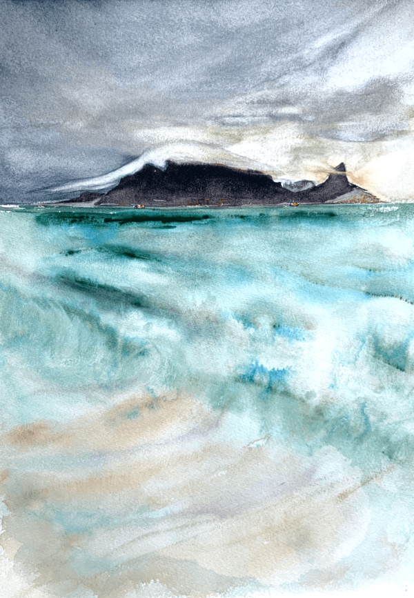 Table Mountain in candy floss cloud by Zuzana Edwards, seascape watercolour original 16 x 12 inch (41.5 x 30 cm).