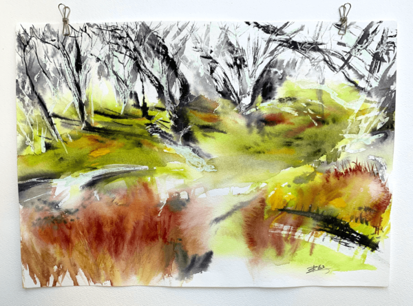 Ghost Gums - Abstract Trees 16 x 12 inch (41.5 x 31 cm)
