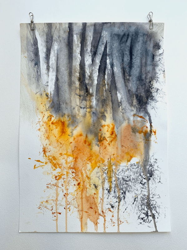 Abstract wood. This original watercolour painting comes with an archival, off-white mount – external size 20 x 16 inch (42 x 31 cm)).