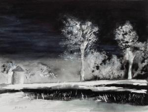 Light at Night watercolour original painting, 12 x 16 inch (31 x 41 cm).