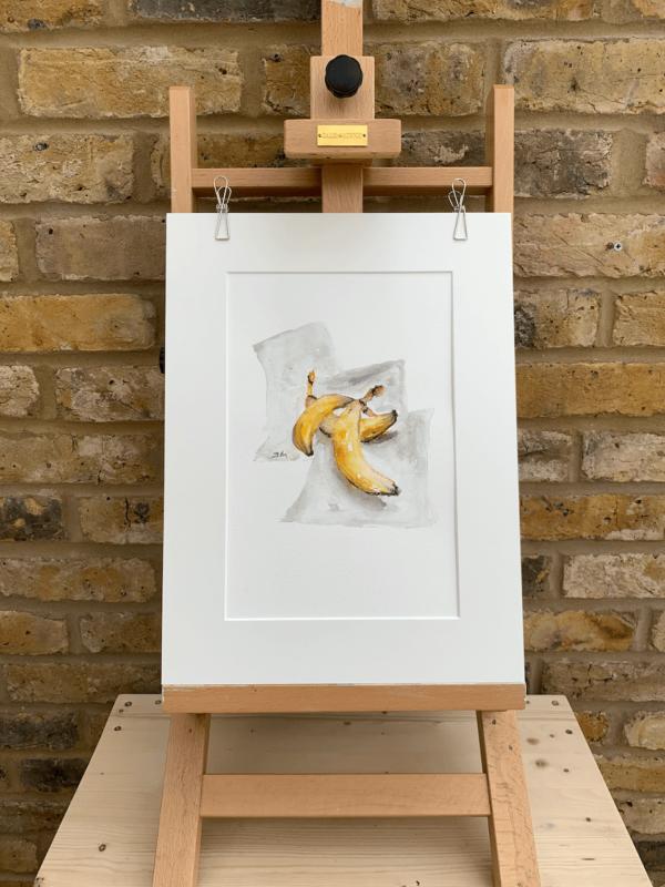 Three Bananas original watercolour 9 x 12 inch (23 x 30 cm).
