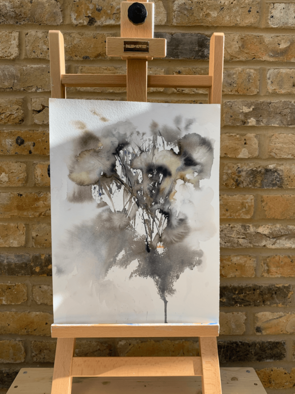 Dandelions by Zuzana Edwards, abstract flowers original painting 12 x 16 in (30.5 x 40.5 cm).