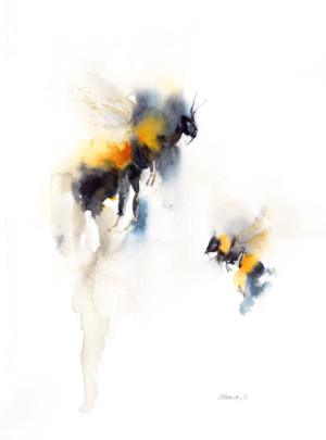 Sound of a garden by Zuzana Edwards, Bees, Abstracted wildlife, original watercolour painting 11 x 15 inch (28 x 38 cm)