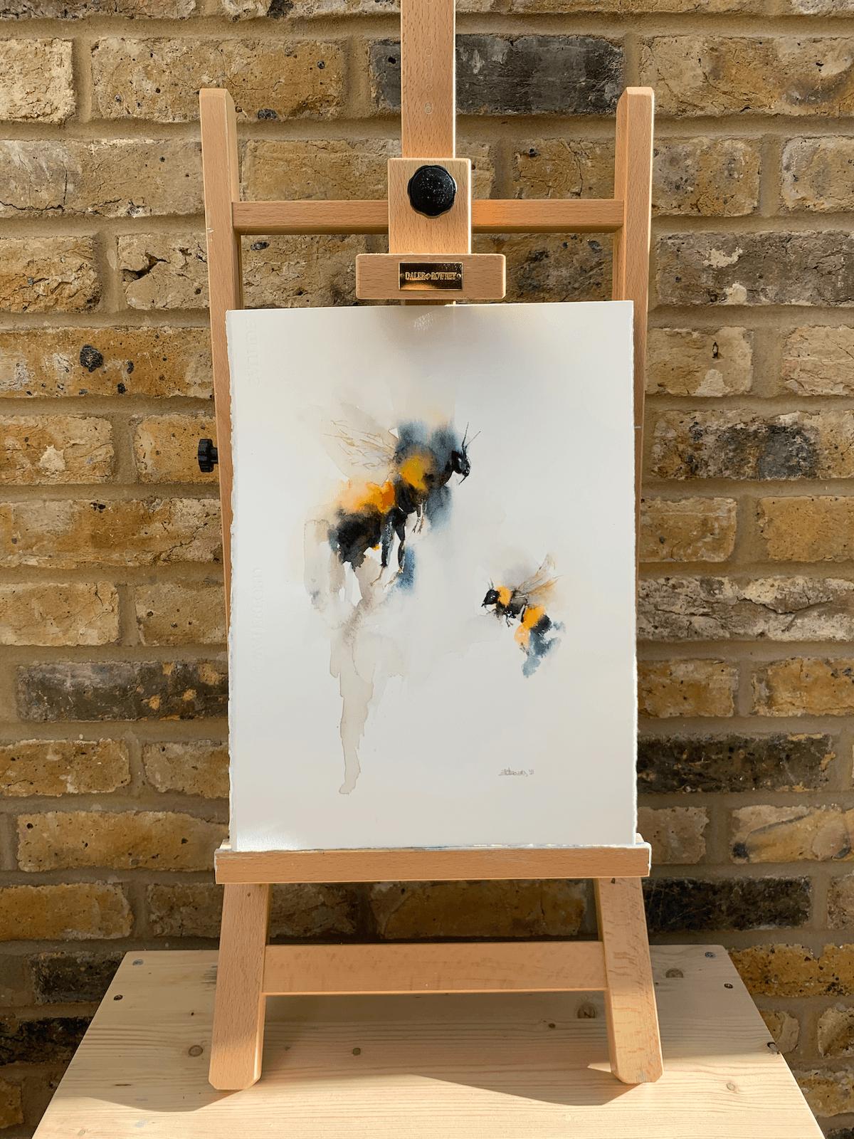 Bees, original watercolour painting 11 x 15 inch (28 x 38 cm)