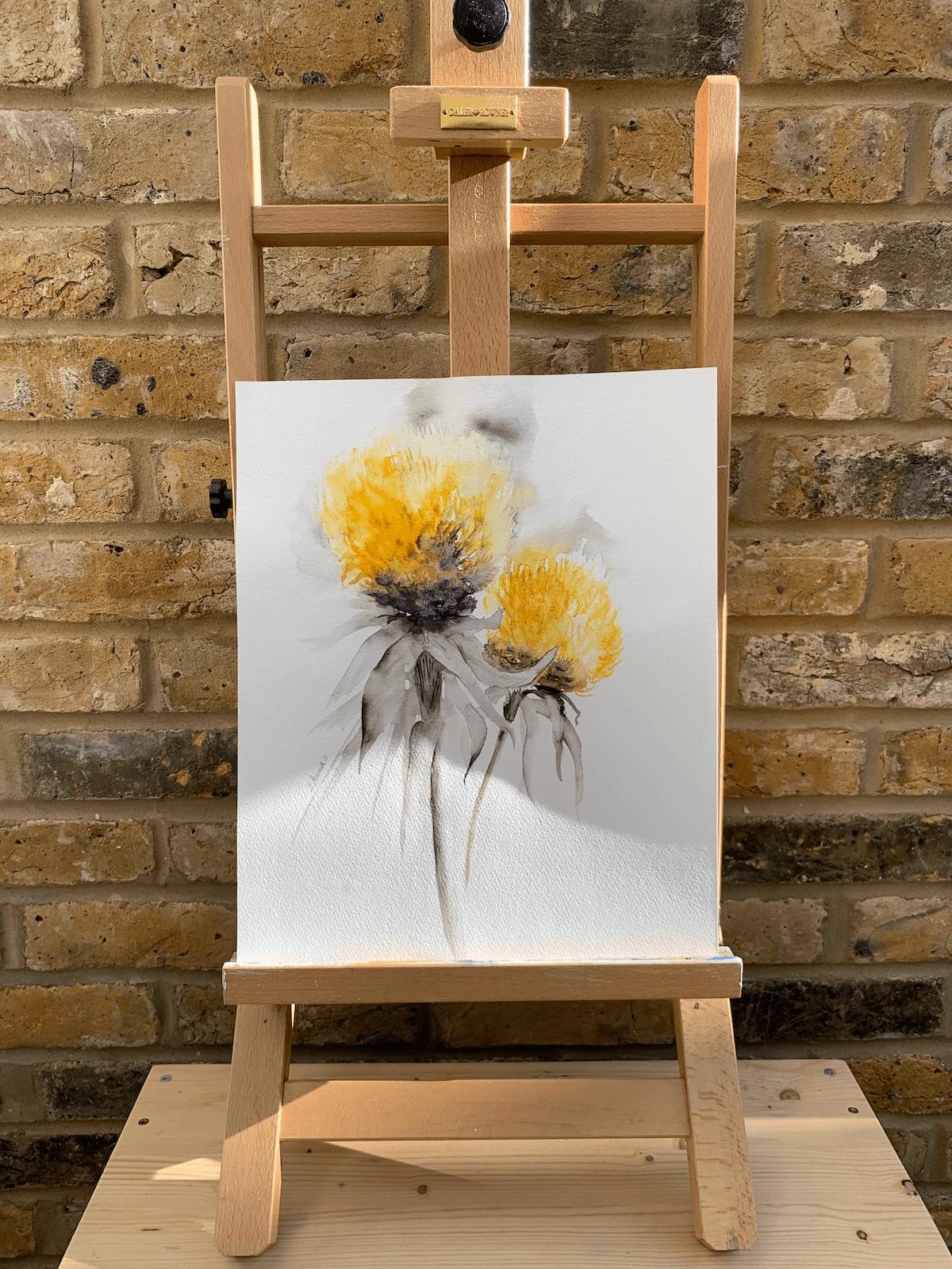 Lemon Fluff by Zuzana Edwards, Floral contemporary watercolour art 11.5 x 13.5 (28.5 x 35 cm).