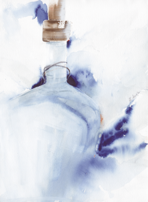 Lid on by Zuzana Edwards, Glass Bottle abstract, original painting 11 x 15 inch (29 x 38 cm).