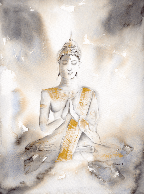 Budha, watercolour painting 12 x 16 inch (31 x 41 cm)