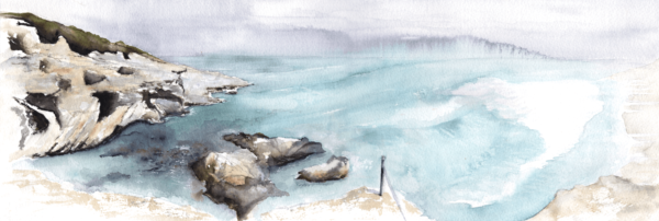 Pause by Zuzana Edwards, seascape panorama original painting, 22.5 x 7.5 in (57 x 19 cm)