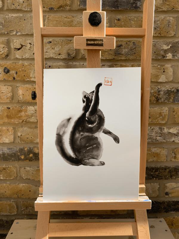 Cat no 1 by Zuzana Edwards, Minimalist Animal watercolour painting, Chinese style, 10 x 14 inch ( 25.5 x 35 cm).