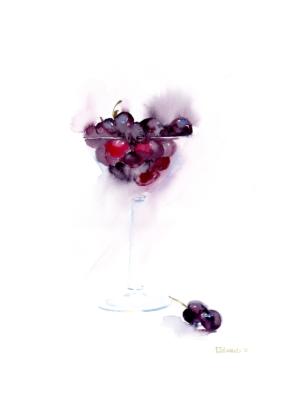 Cherry Martini by Zuzana Edwards, contemporary original painting 11 x 15 in (28 x 38 cm).
