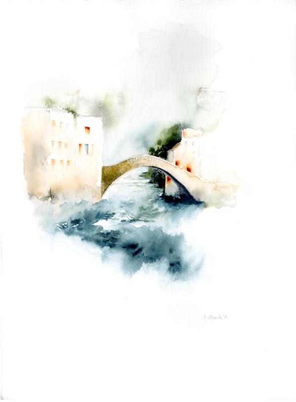 Lake Como II by Zuzana Edwards, Impressionist landscape, 11 x 15 inch (28 x 38 cm).
