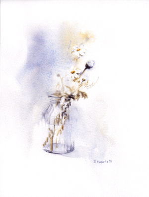 Daisies I by Zuzana Edwards, floral minimalist fine art print, 11 x 14.5 inch (28 x 37 cm).