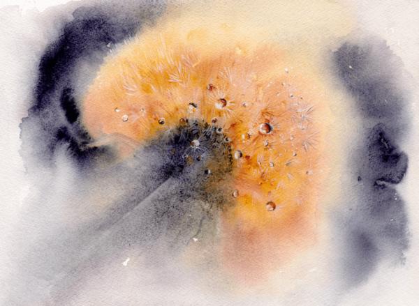 Dandelion by Zuzana Edwards, impressionist original watercolour painting, 10 x 14 inch (26 x 36 cm).)