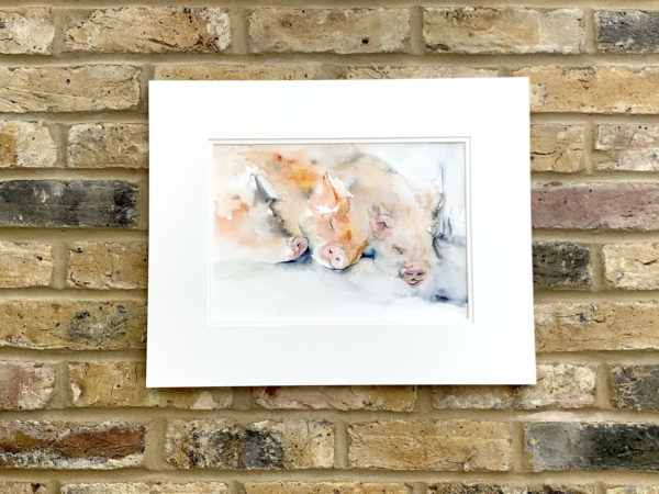Dreaming of spuds by Zuzana Edwards, Pigs sleeping, whimsical watercolour painting. Original in double mount, unframed.