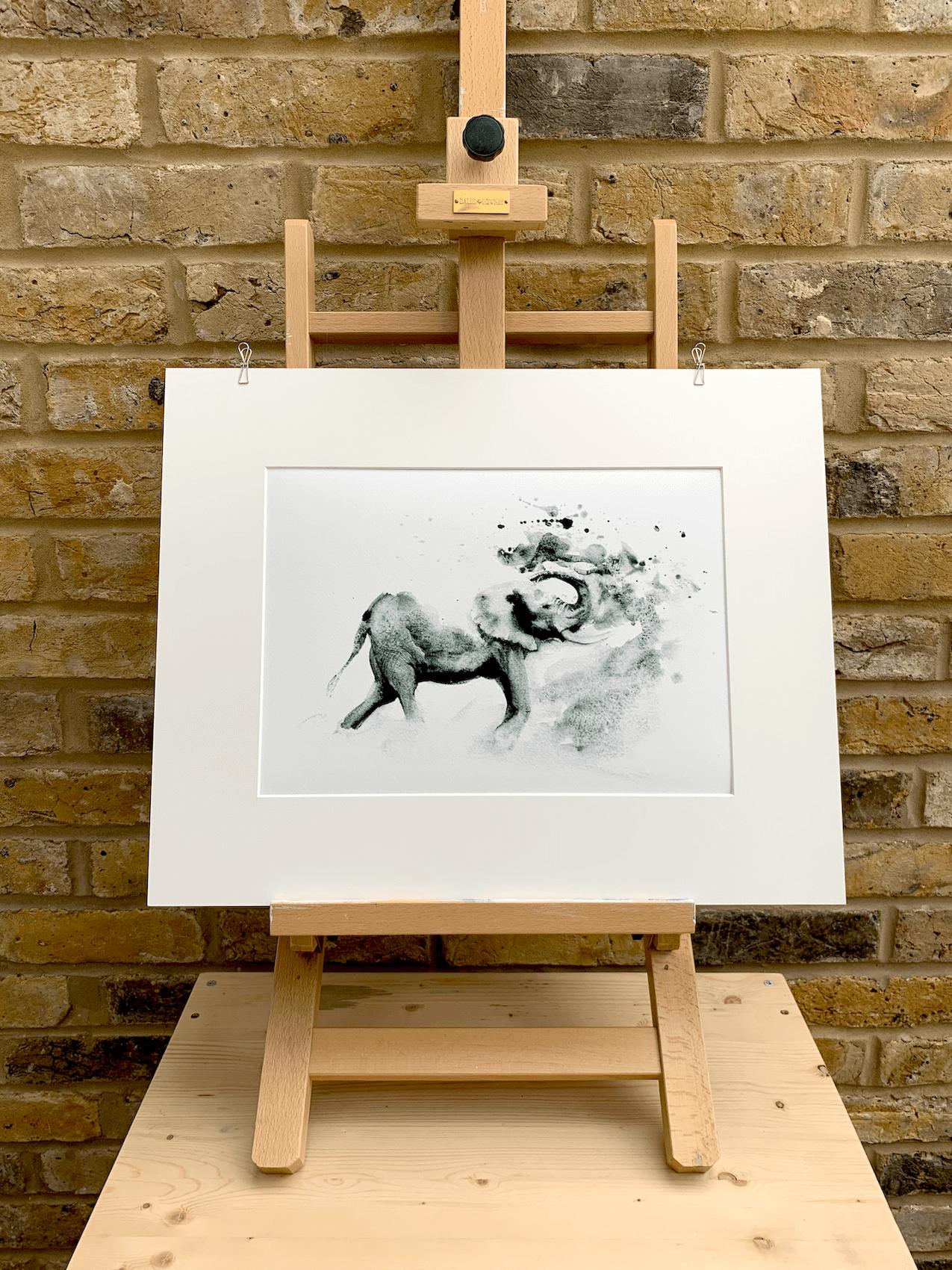 Elephant Bath by Zuzana Edwards, African animal monochrome fine art print 10.5 x 15 inch (27 x 38 cm)