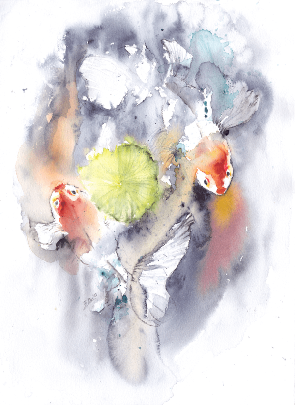 The chase is on by Zuzana Edwards, Fish in a pond abstract watercolour 11 x 15 inch (28 x 38).