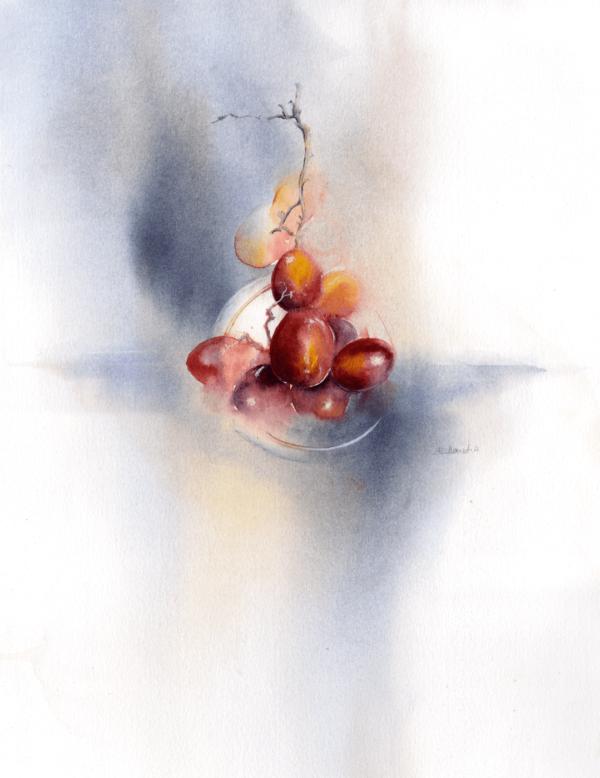 Grapes by Zuzana Edwards, Still Life original watercolour, 11 x 15 inch (28 x 38 cm).