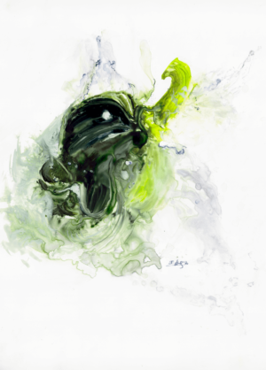 Washed and ready by Zuzana Edwards, Food - Green Pepper and Water, original watercolour on yupo 11 x 14 inch (28 x 36 cm).