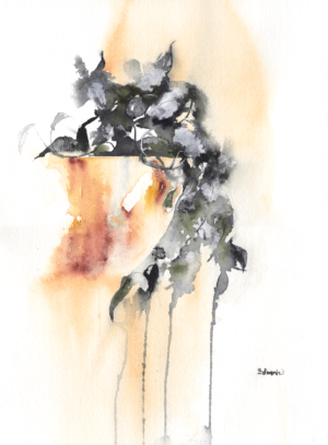 Just hanging by Zuzana Edwards, abstracted botanical watercolour, 11 x 15 in (28 x 38 cm).