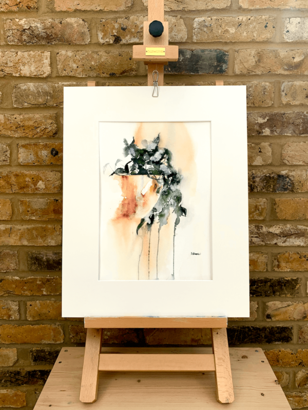 Pot plant by Zuzana Edwards, abstracted botanical watercolour, 11 x 15 in (28 x 38 cm).