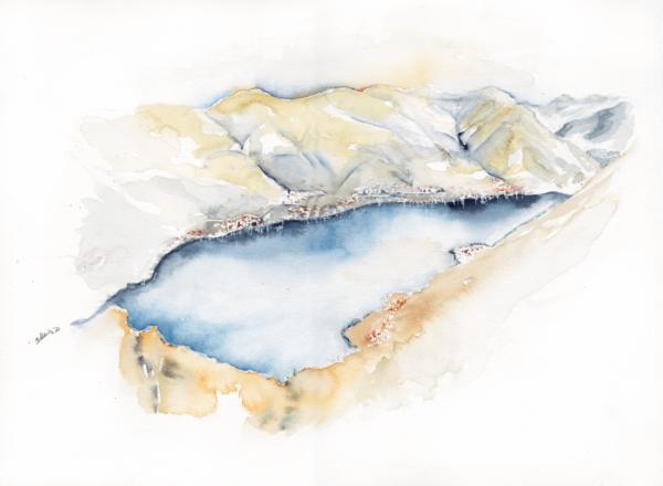 Lake Como I by Zuzana Edwards, Landscape original watercolour 11 x 15 in (28 x 38 cm)