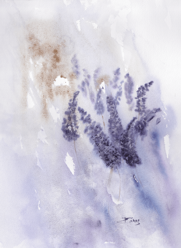 Lavender by Zuzana Edwards, Floral abstract watercolour painting, 12 x 16 inch (31 x 41 cm)