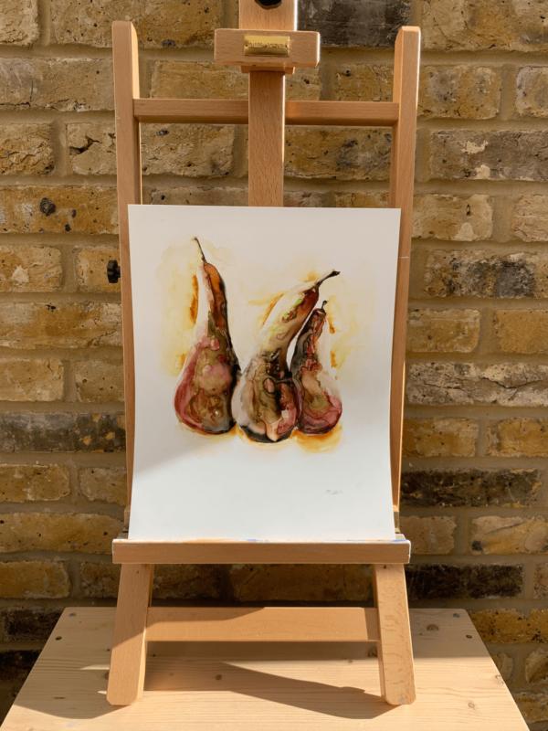 Fiery Pears by Zuzana Edwards, Still Life, original watercolour painting, 11 x 14 inch (28 x 36 cm)