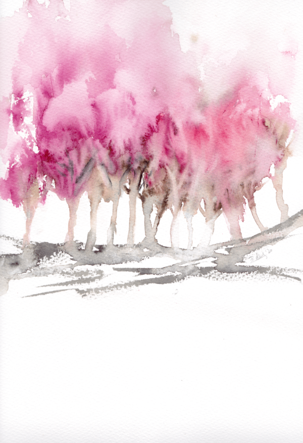 Pink Trees by Zuzana Edwards, original watercolour abstract, 9x12 in (23 x 31 cm).