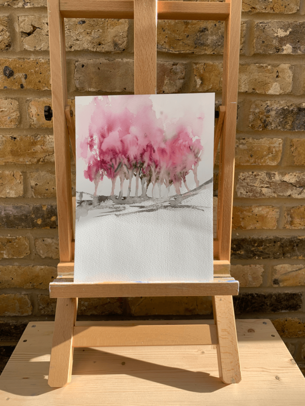 Abstract Pink Trees by Zuzana Edwards, Minimalist landscape, original watercolour, 9 x 12 in (23 x 31 cm).
