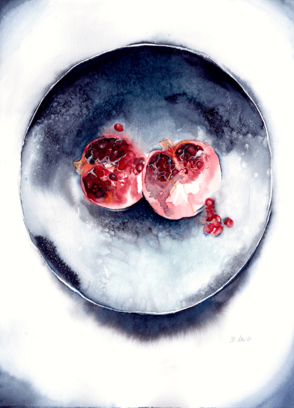 Serving of jewels by Zuzana Edwards, Still Life watercolour painting, 11 x 15 in (28 x 38 cm)