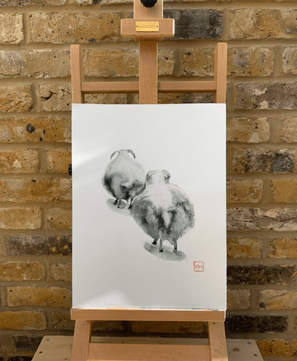 Running away from haircut, Sheep, watercolour 12 x 16 inch (31 x 41 cm).