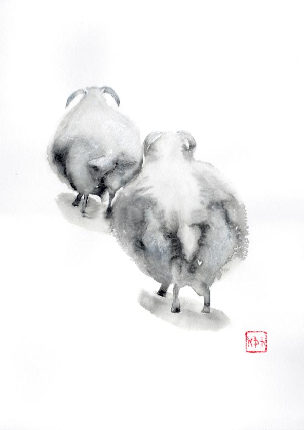 Running away from haircut, Sheep, watercolour 12 x 16 inch (31 x 41 cm)