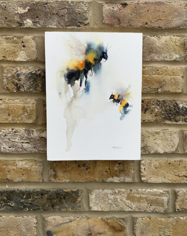 The sound of a garden by Zuzana Edwards, Bees abstract watercolour painting, 9 x 12 inch (22.8 x 30.5 cm).