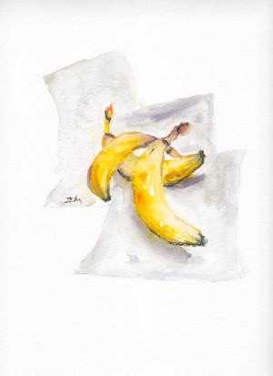 Three Bananas by Zuzana Edwards, Still life original watercolour 9 x 12 inch (23 x 30 cm).