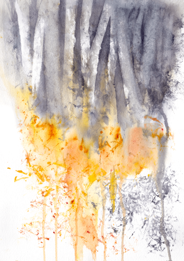Trees above and below by Zuzana Edwards, Abstract wood landscape, watercolour painting comes with an archival, off-white mount – external size 20 x 16 inch (41 x 51 cm).