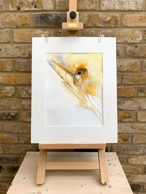 Trombone by Zuzana Edwards, Abstract watercolour original 12 x 16 in (31 x 41 cm).