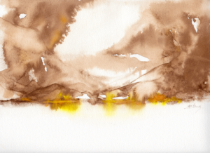 Walnut Mountains by Zuzana Edwards, Abstract Landscape, 9 x 12 inch (23 x 30 cm).